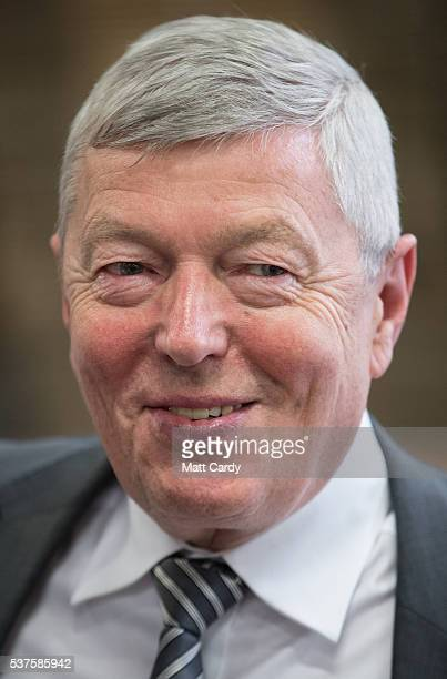 Alan Johnson Labour MP and former Home Secretary smiles during a visit to a proEU company Pollards Printers with the the Labour IN for Britain...