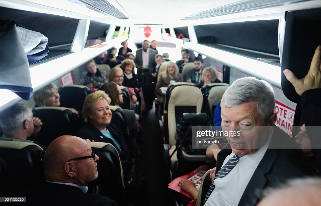 Alan Johnson MP, chair of the Labour In for Britain campaign invited supporters onto the campaign bus to avoid heavy rain during the 'Labour In' battle bus tour on May 25, 2016 in Middlesbrough, England. The Labour In for Britain battle bus will make several trips to the north east region as it tours the area ahead of the EU referendum on June 23.