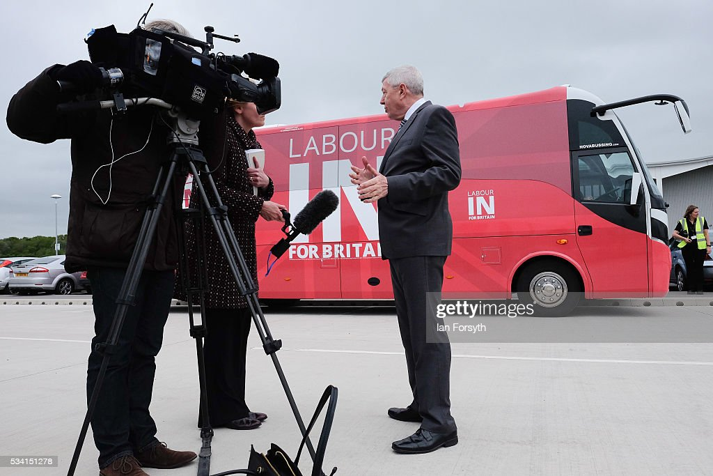 Alan Johnson MP, chair of the Labour In for Britain campaign speaks with the med ia as he visits the Hitachi Rail Europe site with the Labour In battle bus on May 25, 2016 in Newton Aycliffe, England. The Labour In for Britain battle bus will make several trips to the north east region as it tours the area ahead of the EU referendum on June 23.