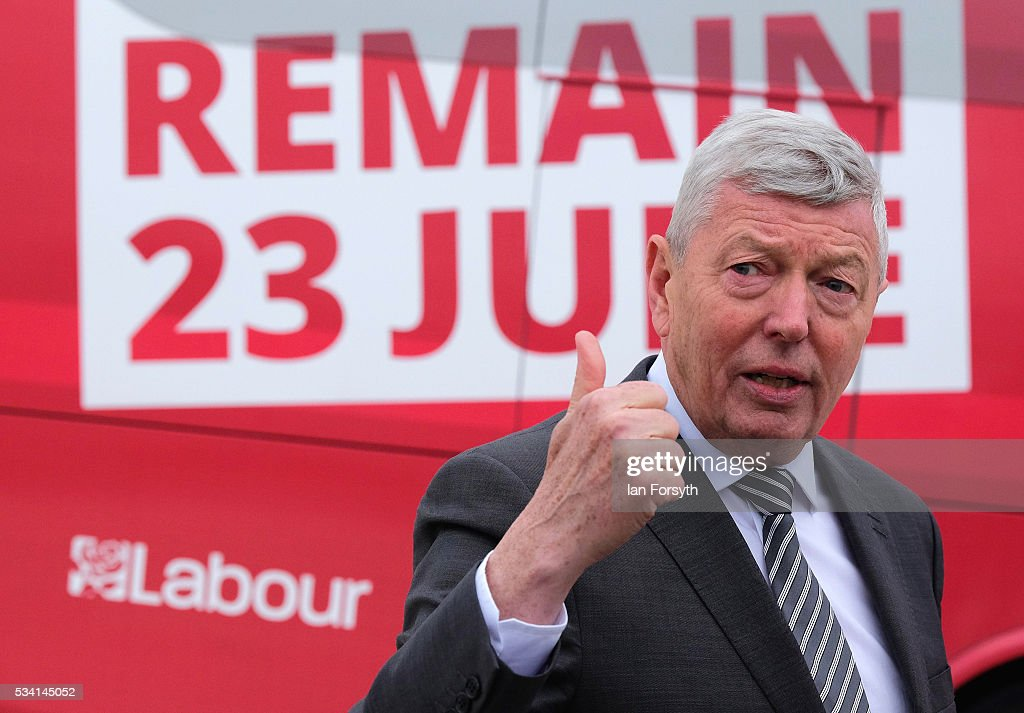 <a gi-track='captionPersonalityLinkClicked' href=/galleries/search?phrase=Alan+Johnson&family=editorial&specificpeople=228679 ng-click='$event.stopPropagation()'>Alan Johnson</a> MP, chair of the Labour In for Britain campaign visits the Hitachi Rail Europe site with the 'Labour In' battle bus on May 25, 2016 in Newton Aycliffe, England. The Labour In for Britain battle bus will make several trips to the north east region as it tours the area ahead of the EU referendum on June 23.
