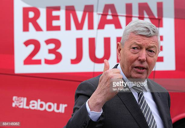 Alan Johnson MP chair of the Labour In for Britain campaign visits the Hitachi Rail Europe site with the 'Labour In' battle bus on May 25 2016 in...