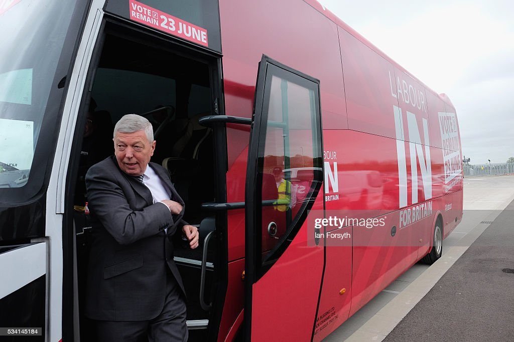 <a gi-track='captionPersonalityLinkClicked' href=/galleries/search?phrase=Alan+Johnson+-+Politician&family=editorial&specificpeople=228679 ng-click='$event.stopPropagation()'>Alan Johnson</a> MP, chair of the Labour In for Britain campaign visits the Hitachi Rail Europe site with the Labour In battle bus on May 25, 2016 in Newton Aycliffe, England. The Labour In for Britain battle bus will make several trips to the north east region as it tours the area ahead of the EU referendum on June 23.