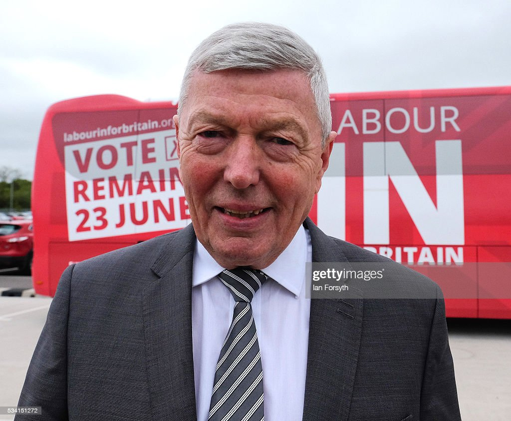 Alan Johnson MP, chair of the Labour In for Britain campaign visits the Hitachi Rail Europe site with the Labour In battle bus on May 25, 2016 in Newton Aycliffe, England. The Labour In for Britain battle bus will make several trips to the north east region as it tours the area ahead of the EU referendum on June 23.