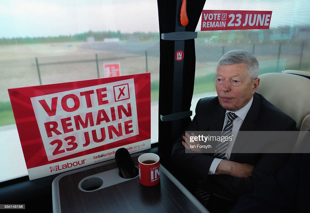 <a gi-track='captionPersonalityLinkClicked' href=/galleries/search?phrase=Alan+Johnson+-+Politician&family=editorial&specificpeople=228679 ng-click='$event.stopPropagation()'>Alan Johnson</a> MP, chair of the Labour In for Britain campaign waits in the campaign battle bus for an interview with members of the media as he visits the Hitachi Rail Europe site on May 25, 2016 in Newton Aycliffe, England. The Labour In for Britain battle bus will make several trips to the north east region as it tours the area ahead of the EU referendum on June 23.