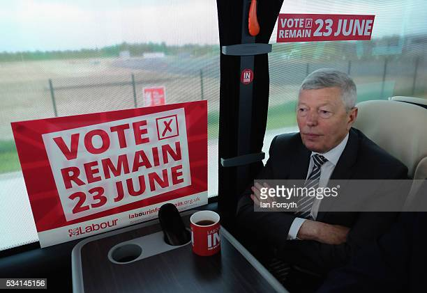 Alan Johnson MP chair of the Labour In for Britain campaign waits in the campaign battle bus for an interview with members of the media as he visits...
