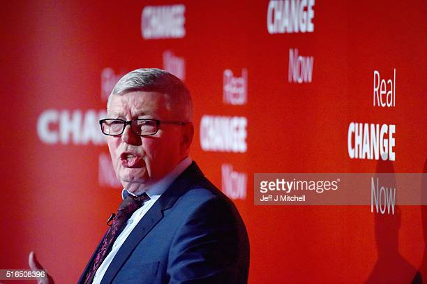 Alan Johnson MP gives a speech to the Scottish Labour party conference at the Glasgow Science Centre on March 19 2016 in Glasgow Scotland Alan...