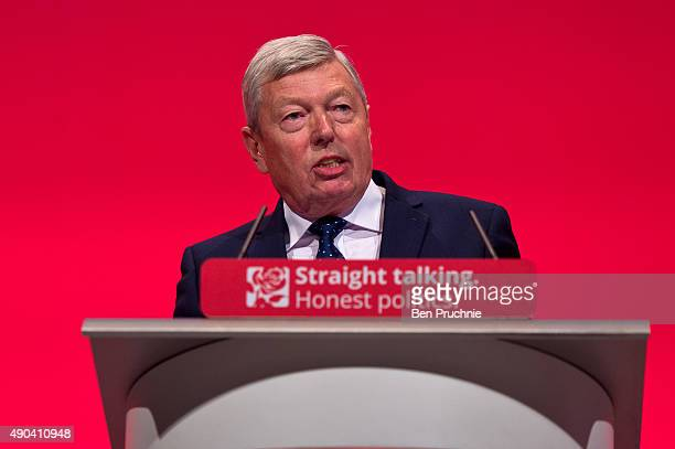 Alan Johnson speaks to delegates during a session entitled 'Britain and the World' during the second day of the Labour Party Autumn Conference on...