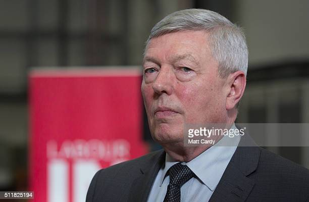Alan Johnson who is leading Labour's proEU campaign gives a television news interview after giving a speech at Airbus on February 23 2016 in Bristol...