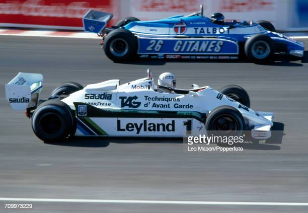 Alan Jones of Australia enroute to winning the 1981 Caesars Palace Grand Prix in Las Vegas driving a Williams FW07C with a Ford V8 engine for the TAG...