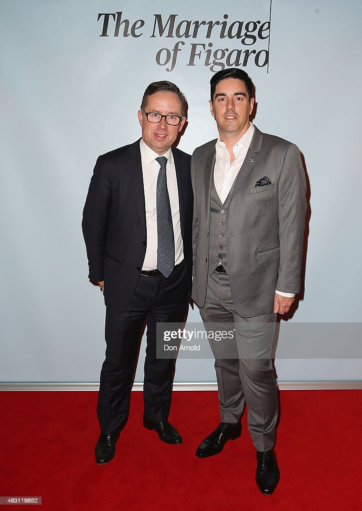 Alan Joyce and Shane Lloyd arrive ahead of The Marriage of Figaro Opening Night at Sydney Opera House on August 6, 2015 in Sydney, Australia.