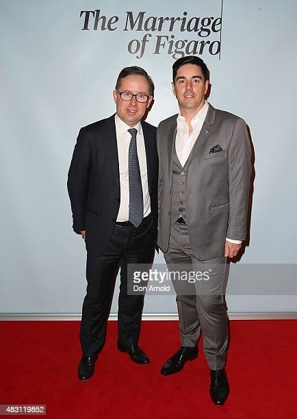 Alan Joyce and Shane Lloyd arrive ahead of The Marriage of Figaro Opening Night at Sydney Opera House on August 6 2015 in Sydney Australia
