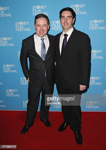 Alan Joyce and Shane Lloyd arrive at the 'Holding The Man' World Premiere during the Sydney Film Festival Closing Night Gala at the State Theatre on...