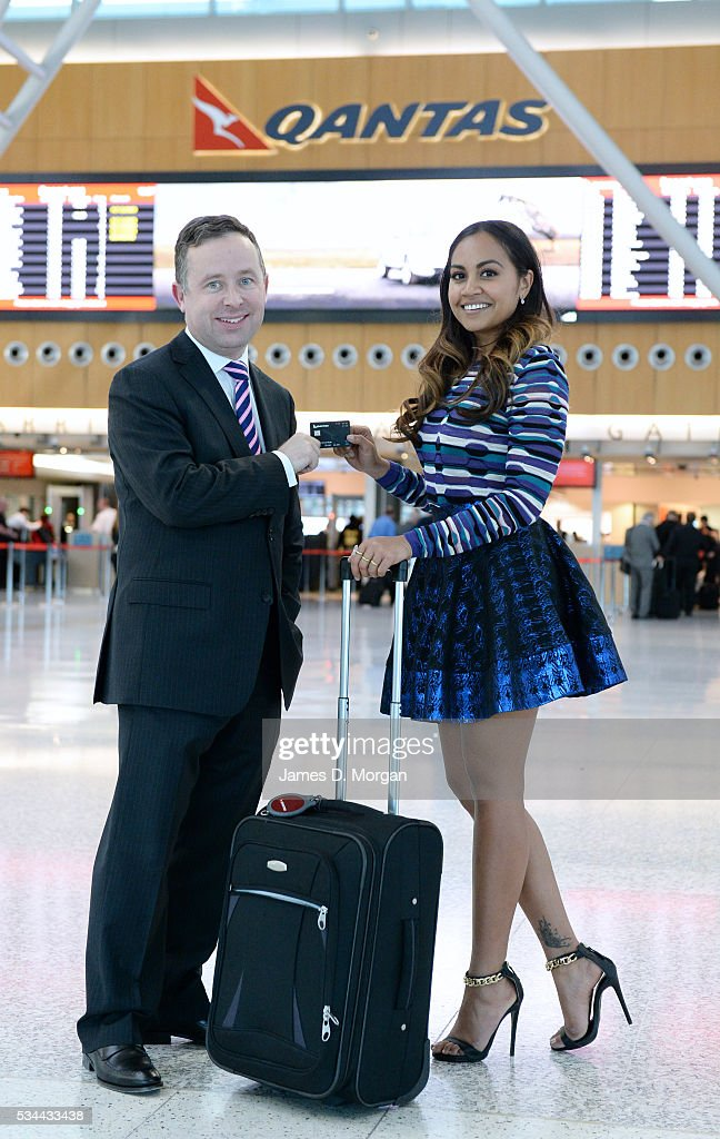 Alan joyce, CEO of Qantas with Jessica Mauboy on August 22, 2013 in Sydney, Australia.