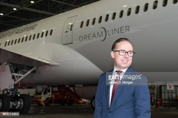 Alan Joyce CEO of Qantas with the new Qantas Boeing 787 Dreamliner as it arrives in Sydney for the first time on October 20 2017 in Sydney Australia