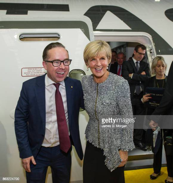 Alan Joyce CEO Qantas with Julia Bishop Australian Federal Foreign Minister as the new Qantas Boeing 787 Dreamliner arrives in Sydney for the first...