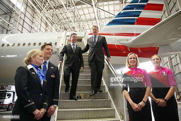 Alan Joyce chief executive officer of Qantas Airways Ltd center left and William Douglas 'Doug' Parker chairman and chief executive officer of...