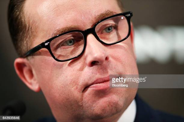 Alan Joyce chief executive officer of Qantas Airways Ltd pauses during a news conference in Sydney Australia on Thursday Feb 23 2017 Qantas'...