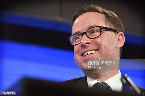 Alan Joyce chief executive officer of Qantas Airways Ltd reacts during a speech at the National Press Club in Canberra Australia on Wednesday Oct 14...