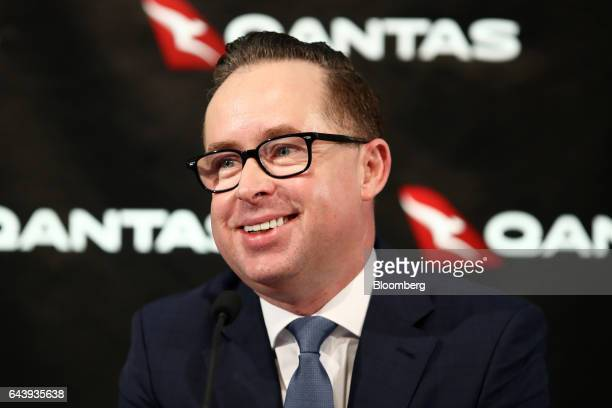 Alan Joyce chief executive officer of Qantas Airways Ltd smiles during a news conference in Sydney Australia on Thursday Feb 23 2017 Qantas'...