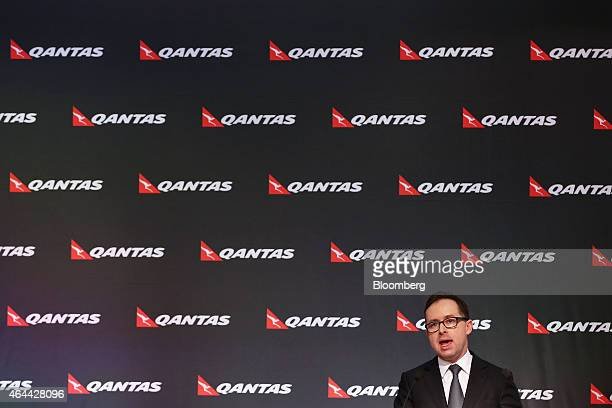 Alan Joyce chief executive officer of Qantas Airways Ltd speaks during a news conference in Sydney Australia on Thursday Feb 26 2015 Qantas posted...