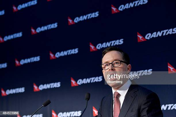 Alan Joyce chief executive officer of Qantas Airways Ltd speaks during a news conference in Sydney Australia on Thursday Aug 20 2015 Qantas said it...