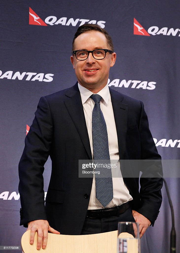 Alan Joyce, chief executive officer of Qantas Airways Ltd., speaks during a news conference in Sydney, Australia, on Thursday, Feb. 23, 2016. Qantas posted a record first-half profit and announced its second capital return in less than six months as Joyce's cost-cutting program and lower fuel prices boost Australia's largest airline. Photographer: Brendon Thorne/Bloomberg via Getty Images