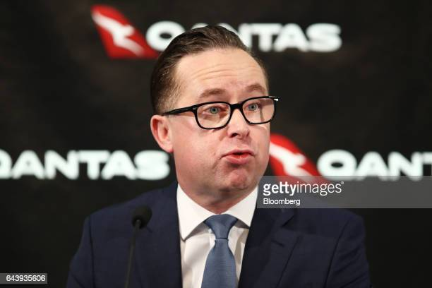 Alan Joyce chief executive officer of Qantas Airways Ltd speaks during a news conference in Sydney Australia on Thursday Feb 23 2017 Qantas'...