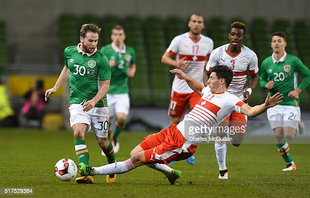 Alan Judge of the Republic of Ireland and Fabian Schar of Switzerland during the international friendly match between the Republic of Ireland and...
