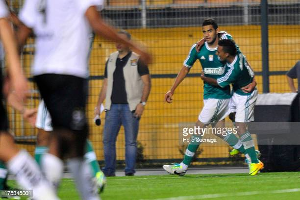 Alan Kardec of Palmeiras celebrates a scored goal during the match between Palmeiras and Bragantino for the Brazilian Championship Serie B 2013 at...