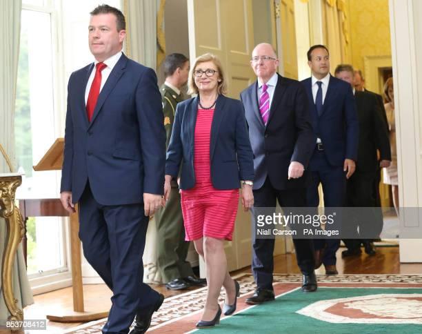 Alan Kelly Jan O'Sullivan Charlie Flanagan and Leo Varadkar prior to receiving their Ministerial Seals of Office at Aras an Uachtarain Dublin after...