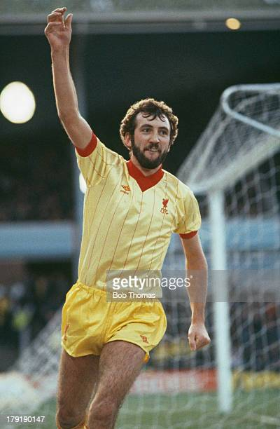 Alan Kennedy of Liverpool FC celebrates after scoring Liverpool's third goal in a Football League Division One match against Aston Villa FC which...