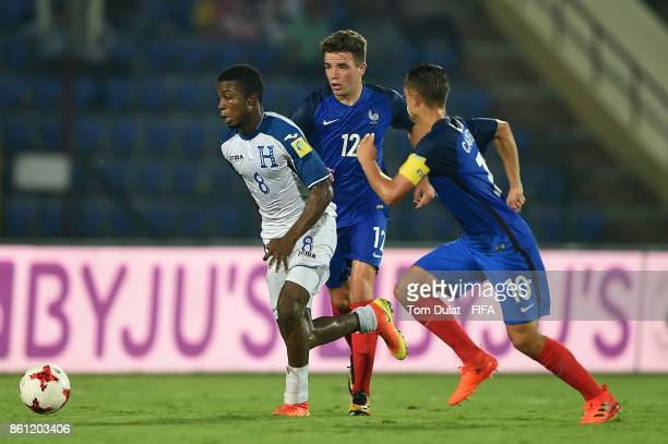 Alan Kerouedan of France and Gerson Chavez of Honduras in action during the FIFA U17 World Cup India 2017 group E match between France and Honduras...