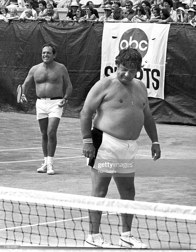 Alan King & <a gi-track='captionPersonalityLinkClicked' href=/galleries/search?phrase=Buddy+Hackett&family=editorial&specificpeople=224801 ng-click='$event.stopPropagation()'>Buddy Hackett</a> Playing Tennis at the R.F.K. Pro Celebrity Tennis Tour
