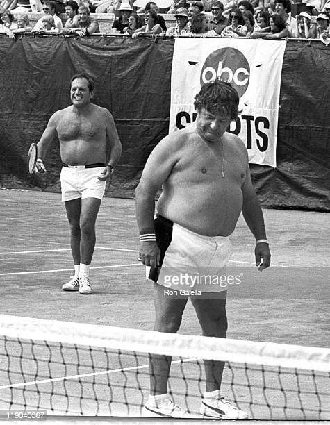 Alan King Buddy Hackett Playing Tennis at the RFK Pro Celebrity Tennis Tour
