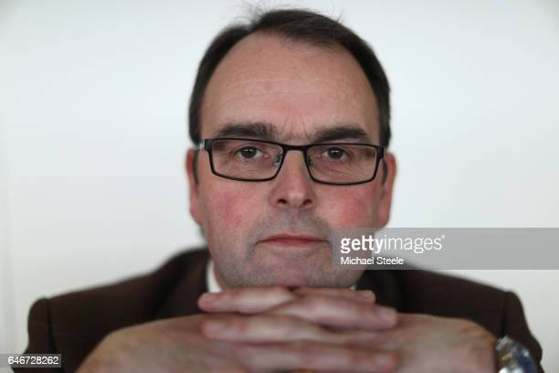 Alan King poses for a portrait during the trainers press conference ahead of the 2017 Cheltenham Festival at Cheltenham Racecourse on March 1 2017 in...