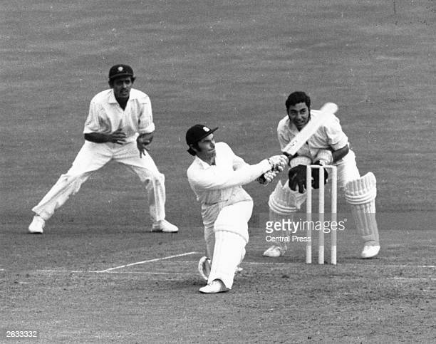 Alan Knott hitting a four during the Test Match between India and England at The Oval in London Original Publication People Disc HG0182
