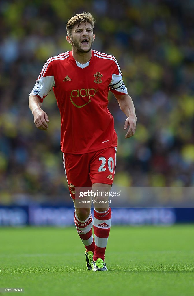 Alan Lallana of Southampton in action during the Barclays Premier League match between Norwich City and Southampton at Carrow Road on August 31, 2013 in Norwich, England.