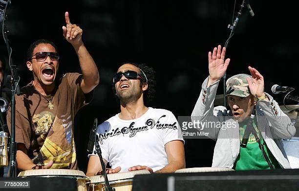 Alan Lightner Ricky Rodriguez and Davey Chegwidden of The Rhythm Roots Allstars perform during the Vegoose music festival at Sam Boyd Stadium's Star...