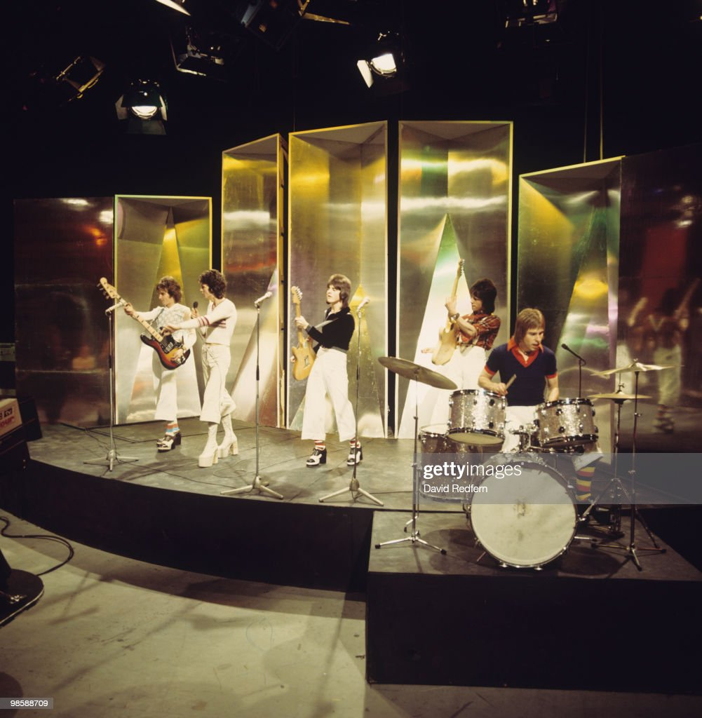 Alan Longmuir, Les McKeown, Eric Faulkner, Stuart Wood and Derek Longmuir of the Bay City Rollers perform on the BBC television show 'Top of the Pops' in 1974.
