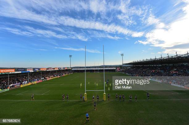 Alan MacGinty of Sale Sharks kicks a penalty during the Aviva Premiership match between Exeter Chiefs and Sale Sharks at Sandy Park on March 25 2017...