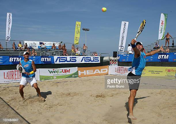 Alan Maldini and Luca Meliconi play during the final double men of the International Beach Tennis Master Tour 2010 on June 27 2010 in Pescara Italy