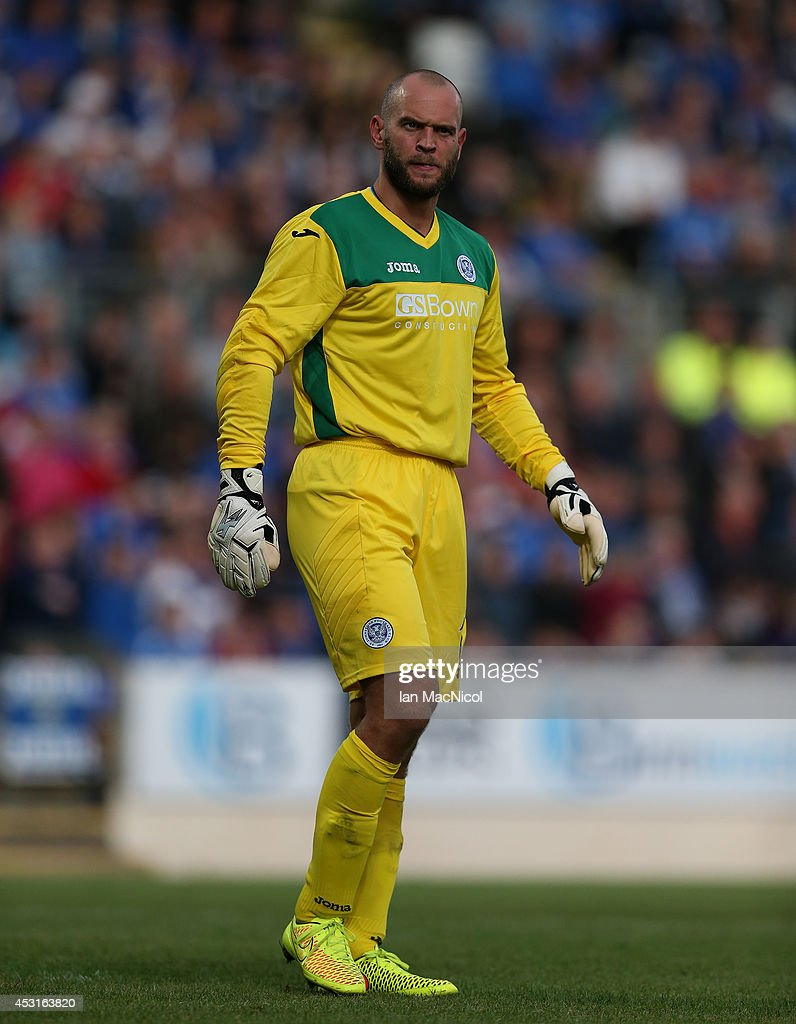 Alan Mannus of St Johnstone looks on during the UEFA Europa League Third Qualifying Round, First Leg match between St Johnstone and Spartak Trnava, at McDiarmid Park on July 31, 2014 Perth, Scotland.