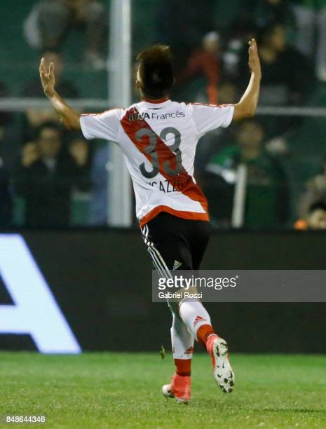 Alan Marcel of River Plate celebrates after scoring the third goal of his team during a match between San Martin de San Juan and River Plate as part...