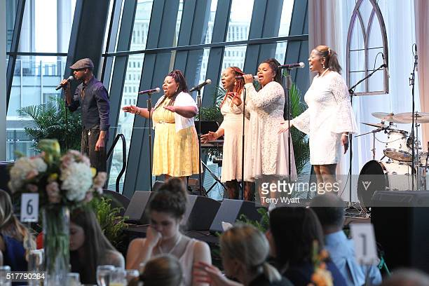 Alan McCrary performs with The McCrary Sisters during Easter Brunch With The McCrary Sisters at Country Music Hall of Fame and Museum on March 27...