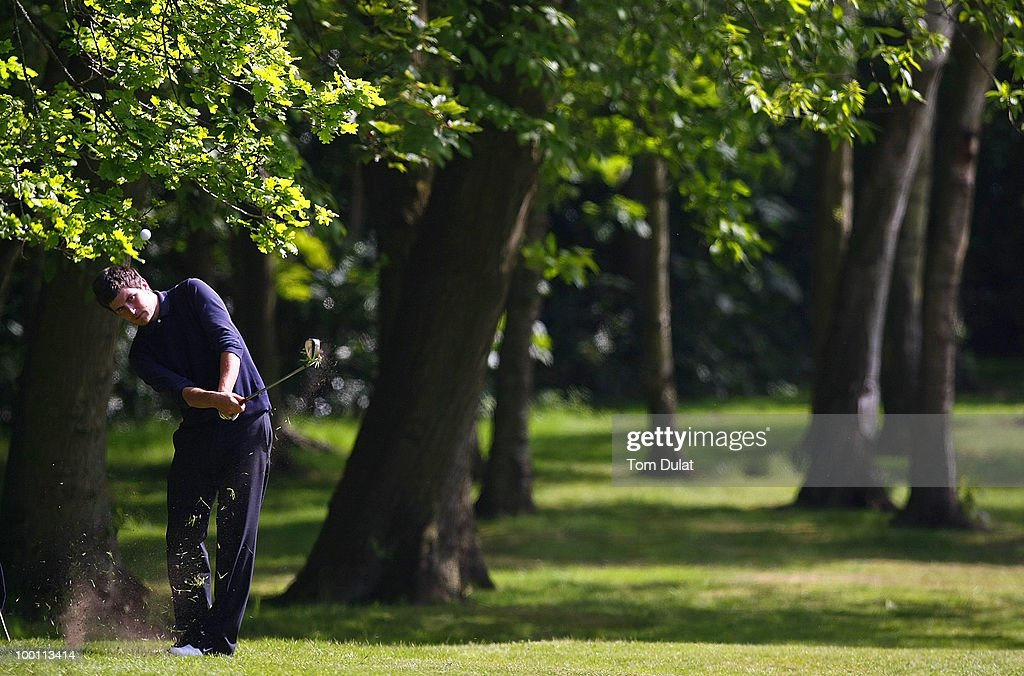 Alan McCumsky of Hazel Grove takes a shot from the 4th fairway during the Virgin Atlantic PGA National Pro-Am Championship Regional Qualifier at Dunham Forest Golf and Country Club on May 21, 2010 in Manchester, England.
