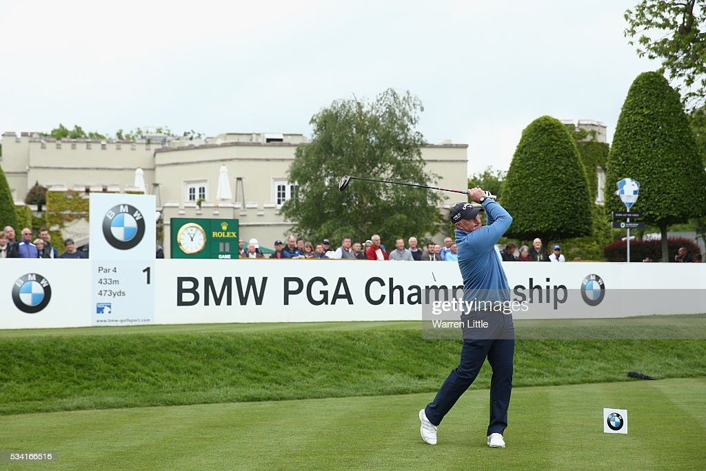 Alan McInally tees off during the Pro-Am prior to the BMW PGA Championship at Wentworth on May 25, 2016 in Virginia Water, England.