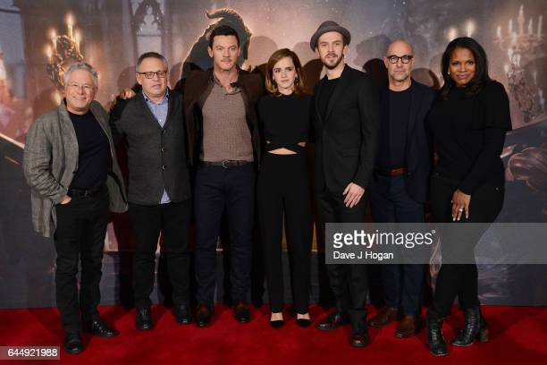 Alan Menken Bill Condon Luke Evans Emma Watson Dan Stevens Stanley Tucci and Audra McDonald attend the photocall for 'Beauty And The Beast' at The...