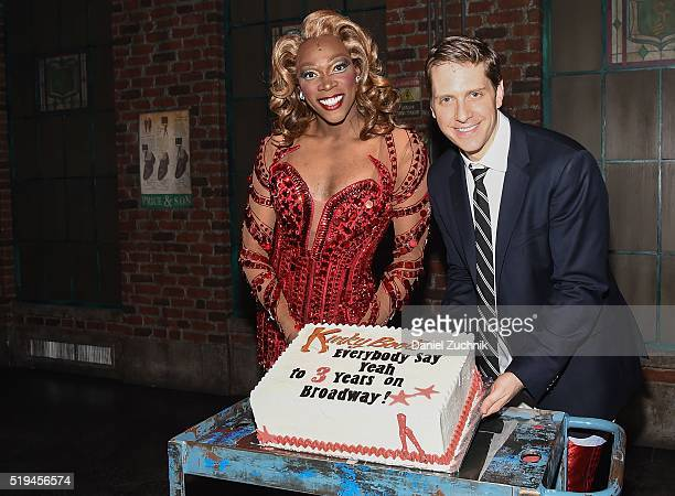Alan Mingo Jr and Andy Kelso pose as 'Kinky Boots' Celebrates 3 Years On Broadway at Al Hirschfeld Theatre on April 6 2016 in New York City
