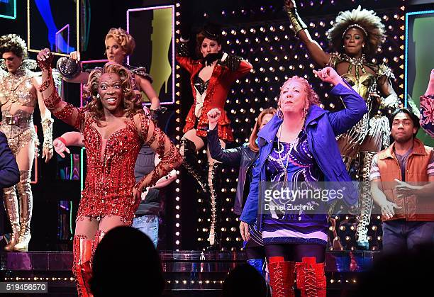 Alan Mingo Jr and cast perform during the curtain call of Kinky Boots at Al Hirschfeld Theatre on April 6 2016 in New York City