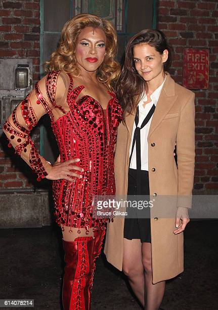 Alan Mingo Jr as 'Lola' and Katie Holmes pose backstage at the hit musical 'Kinky Boots' on Broadway at The Al Hirshfeld Theater on October 11 2016...